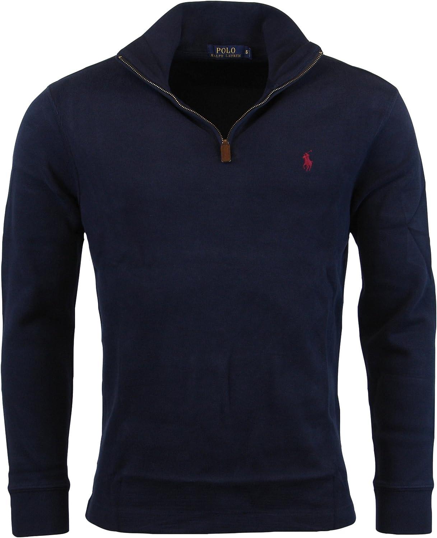 Polo Ralph Lauren Mens Half Zip French Rib Cotton Sweater: Amazon ...