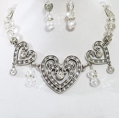 Amazon 3 brighton swarovski crystal heart pendants necklace 3 brighton swarovski crystal heart pendants necklace austrian crystal beads handmade aloadofball Gallery