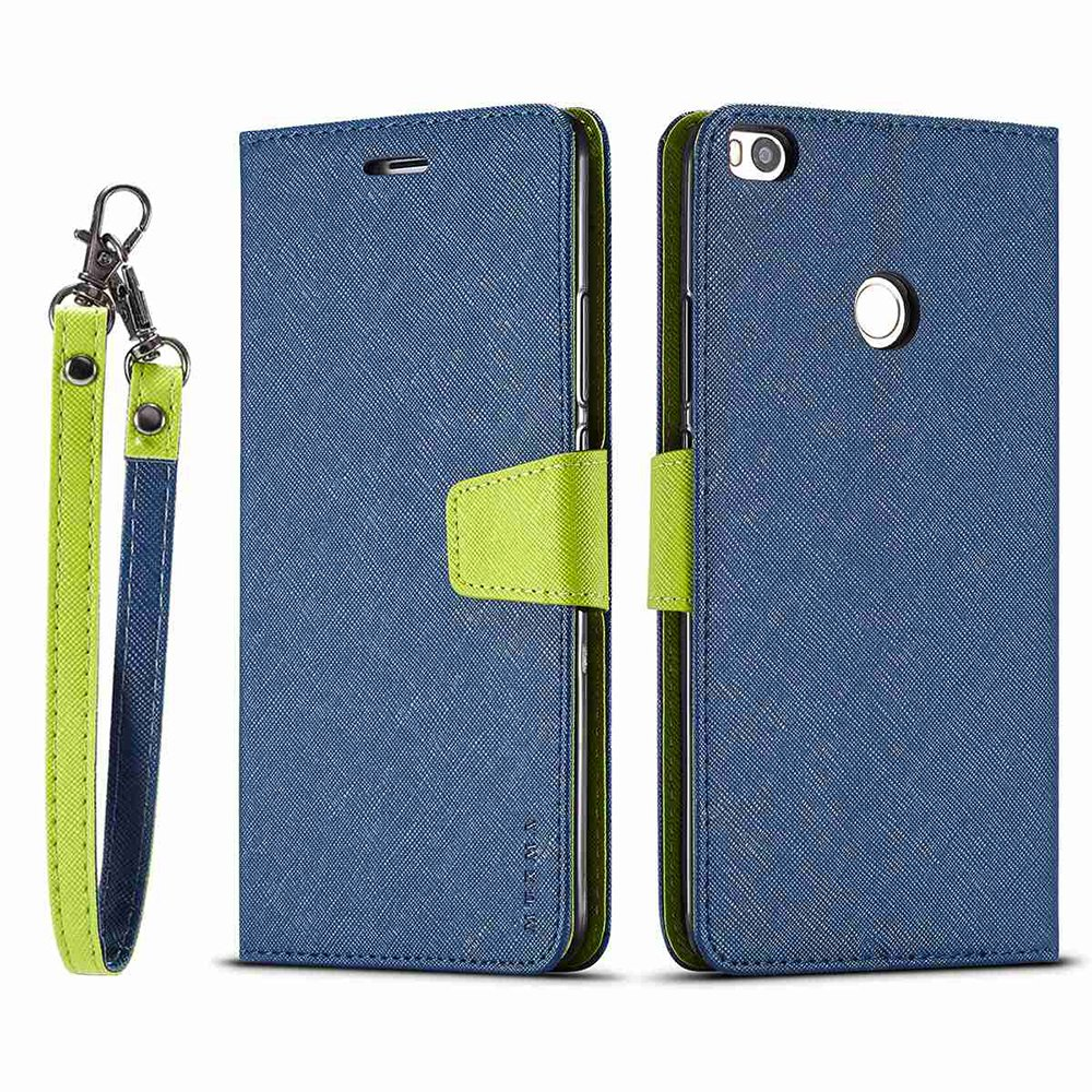 EUDTH Xiaomi MAX 2 Case, Premium Leather Flip Wallet Case with Card Slots and Magnetic Closure [Contrast Color] Protective Cover Case for Xiaomi MAX 2 - Black/Blue