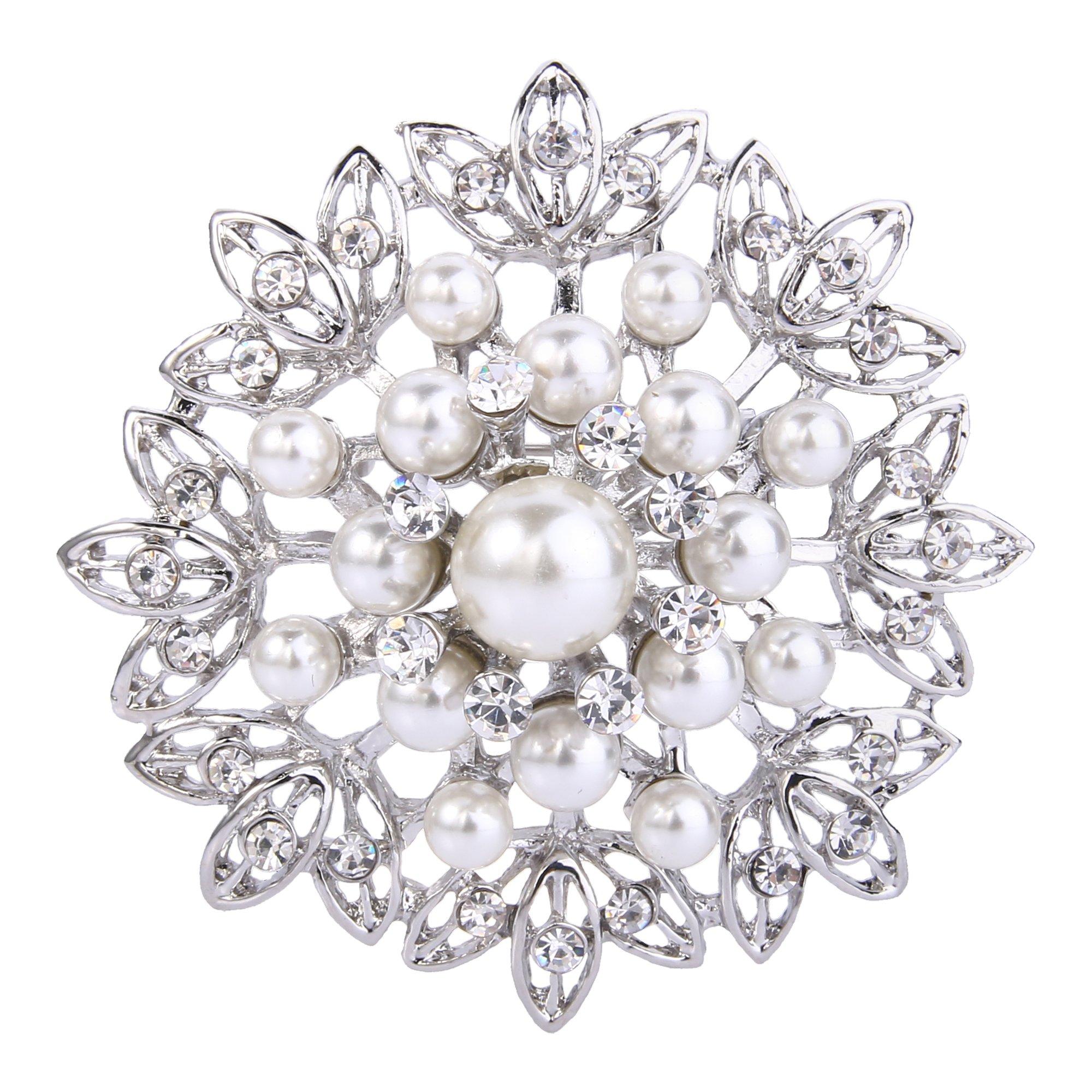 EVER FAITH Women's Crystal Cream Simulated Pearl Elegant Flower Leaf Corsage Brooch Clear Silver-Tone