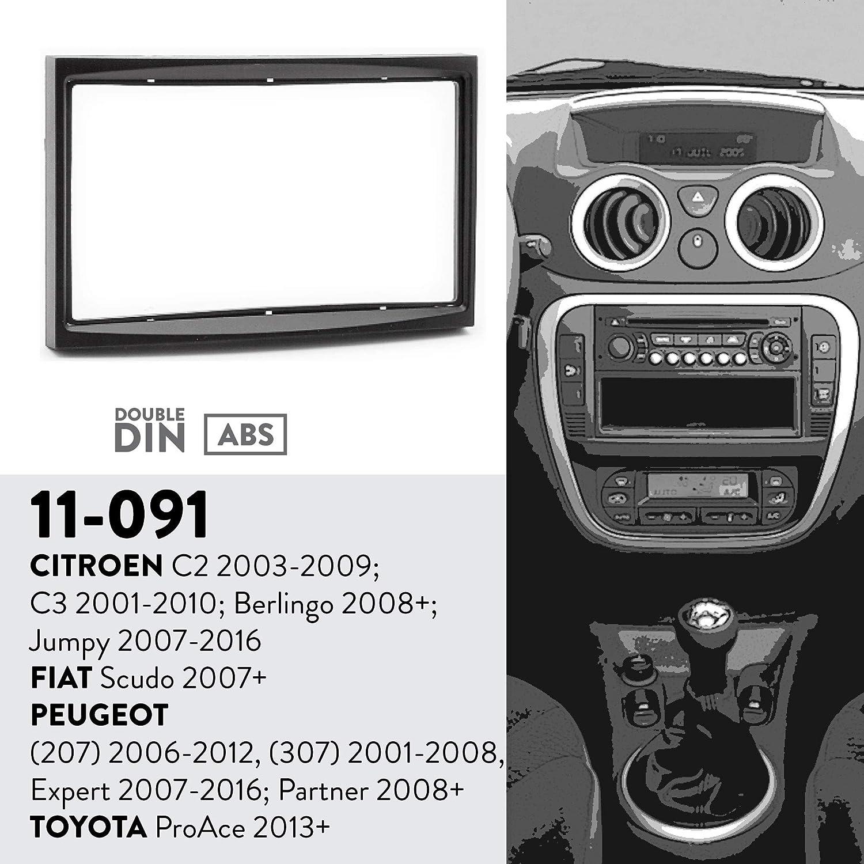 2006-2012, 207 UGAR 11-091 Trim Car Radio instalaci/ón Facia Adecuado para Citroen C2 2003-2009; C3 2001-2010; Berlingo 2008+; Jumpy 2007-2016 // FIAT Scudo 2007+ // Peugeot 2001-2008. 307