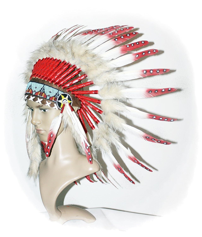 Indianer Kopfschmuck EINZELSTÜCK Federhaube echte Federn WEISS- ROT Federschmuck Fotoshooting