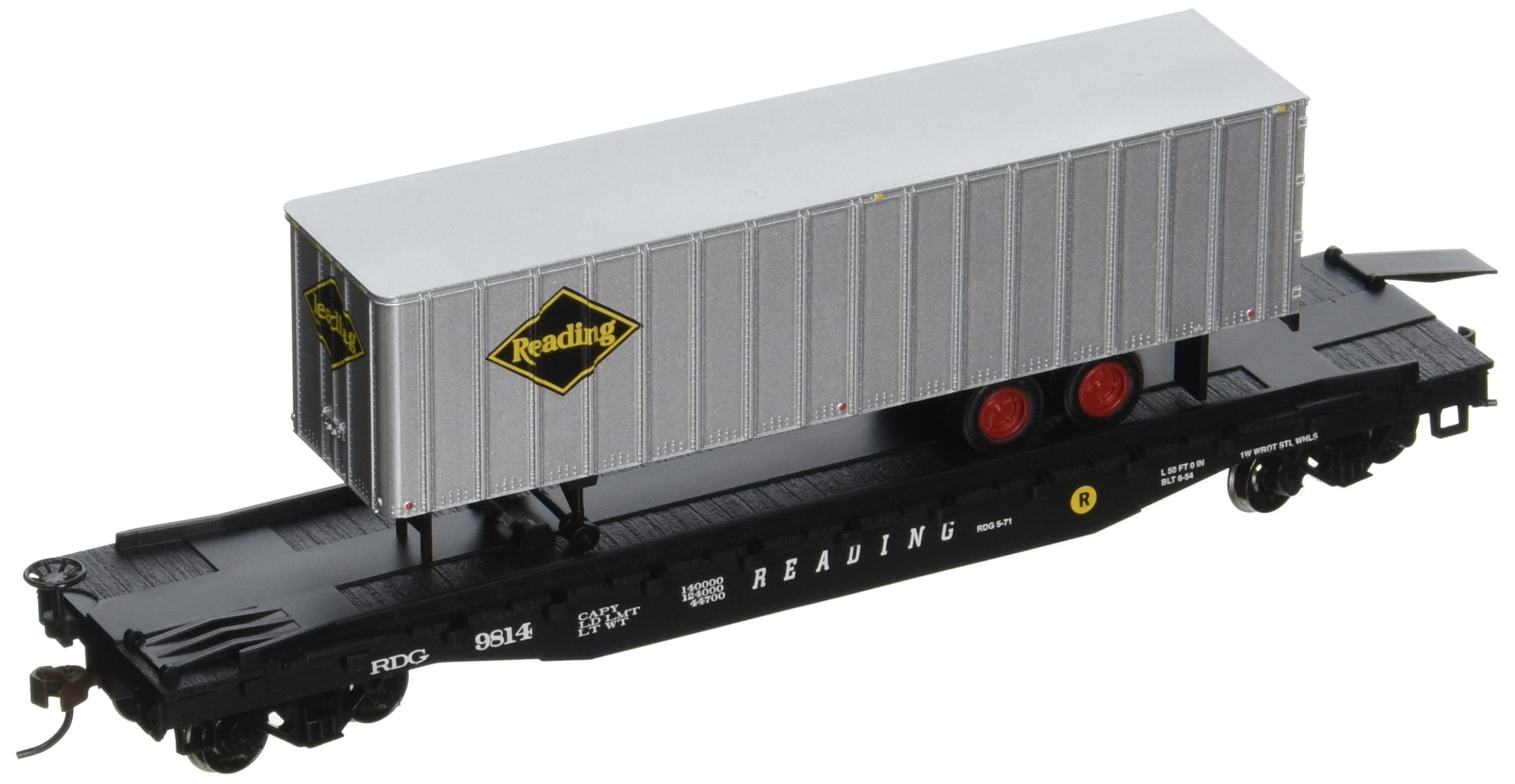 Bachmann Industries 52' with 35' Piggyback Trailer Reading Flat Car, 6'', HO Scale