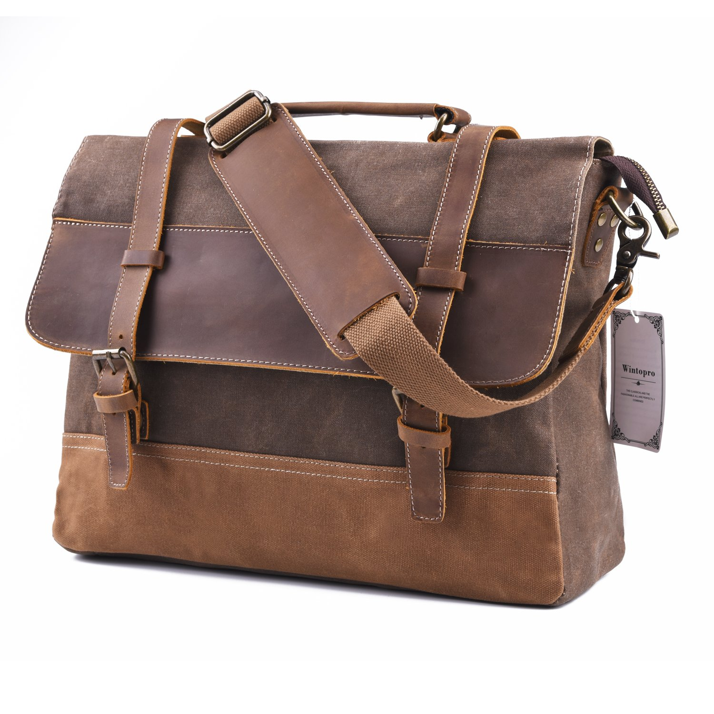 f068e8298b5 Wintopro Mens Genuine Leather Vintage Waterproof 15.6
