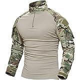 MAGCOMSEN Men's Tactical Military Shirts 1/4 Zip Long Sleeve Camo Shirt with Pockets