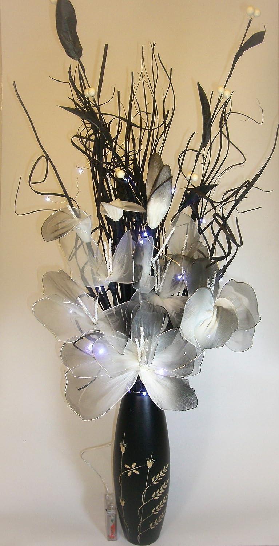 hauteur 30 cm. Link Products Lot de 2 vases parfaits pour les plantes et les fleurs s/éch/ées  Lot de 2 vases en bois noir