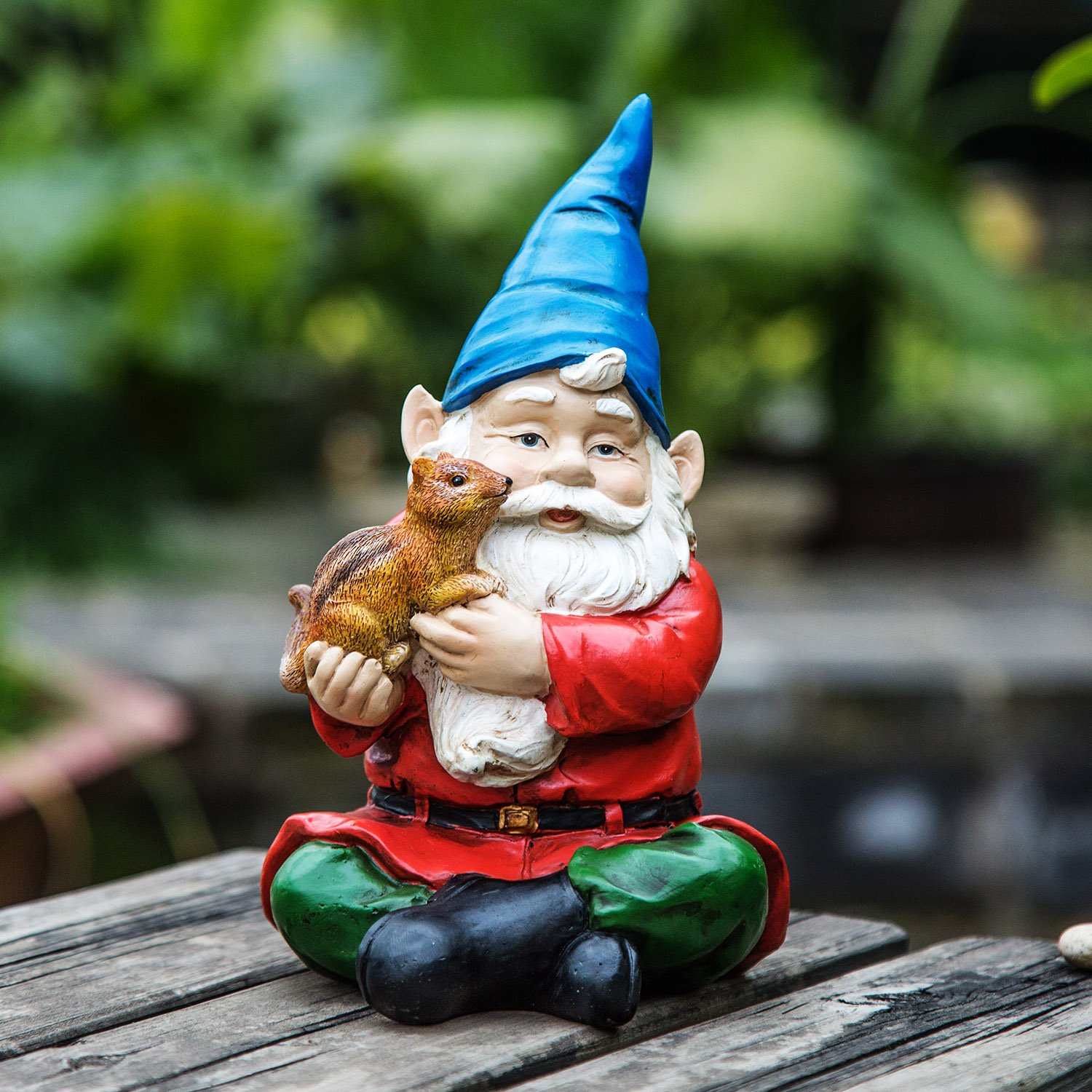 Ivy Home Garden Gnome Decorations Outdoor Statues,Spirit Carried A Squirrel