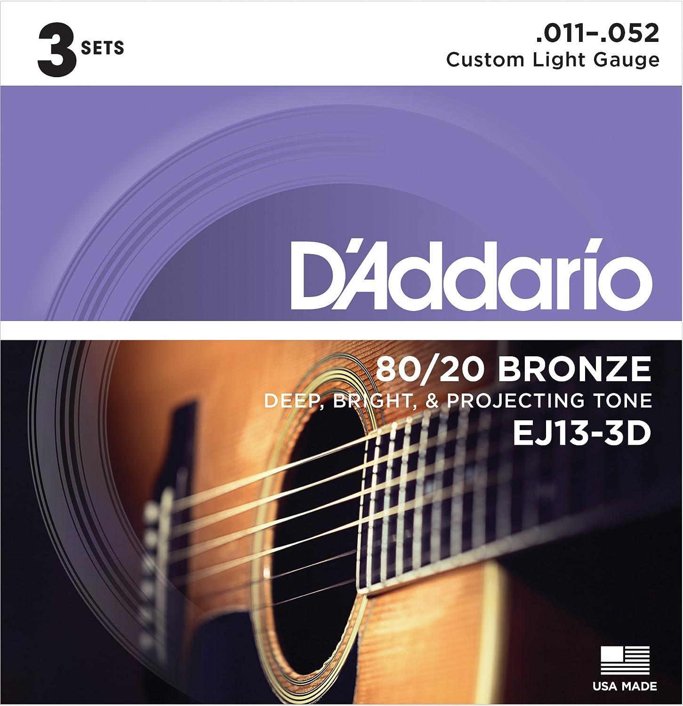 D'Addario EJ13 80/20 Bronze Acoustic Guitar Strings, Custom Light, 11-52 D'Addario &Co. Inc