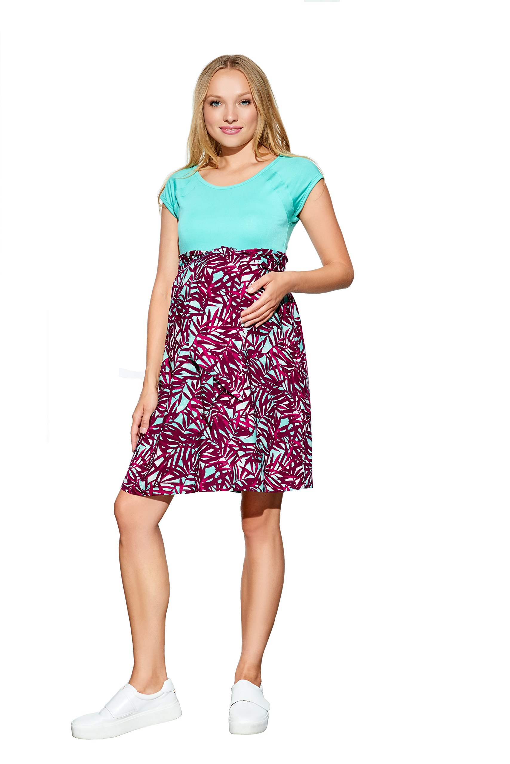 Maternal America Women's Maternity Front Tie Dress (X-Small, MINT/MAGENTA TROPICS)