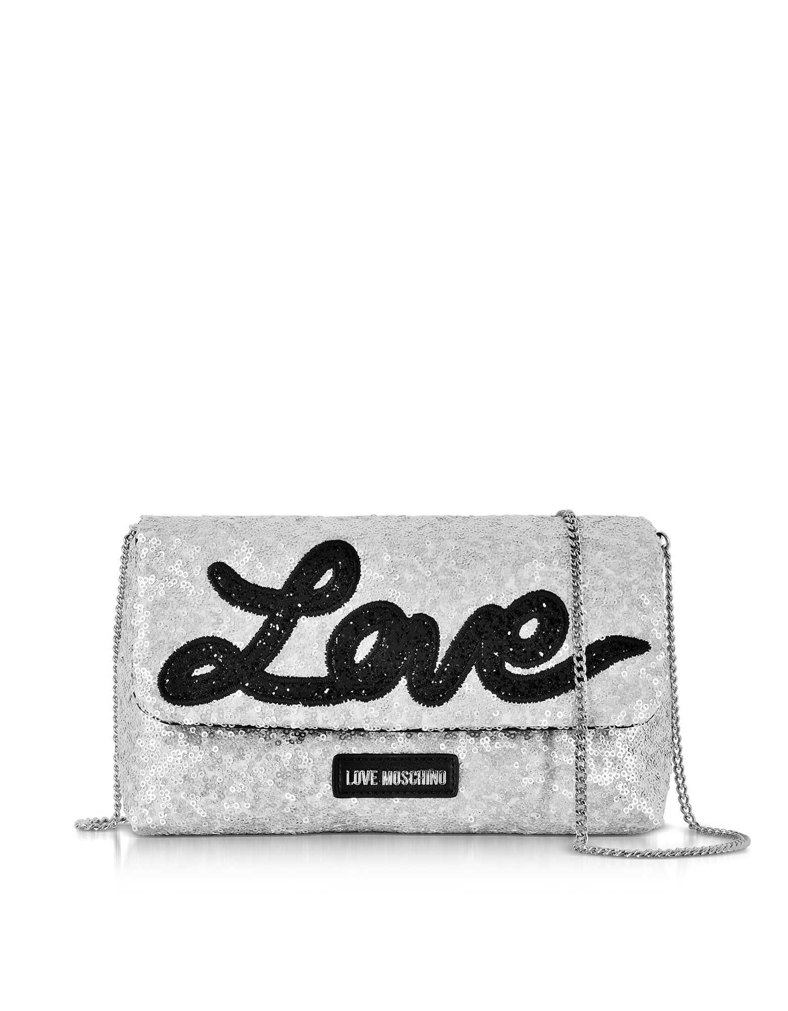 Love Moschino Women's Jc4105pp15lr0902 Silver Leather Shoulder Bag