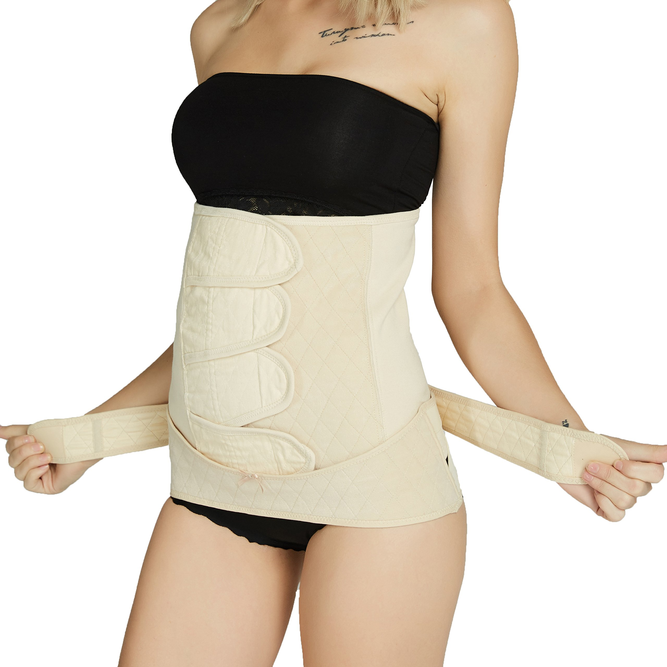 Neotech Care Postpartum Girdle & Pelvis Belt - Cotton - Post Pregnancy Belly Band Support Wrap - for Body Shaping, Tummy Trimming, Flat Stomach (Beige, S)