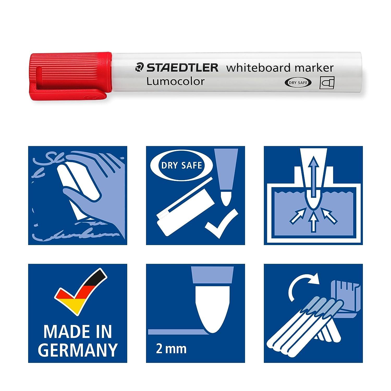 Marqueurs pour tableau blanc effa/çables /à sec 351 WP6 /& Basics Tableau blanc magn/étique avec cadre en aluminium et porte Pointe ogive de 2 mm Staedtler Lumocolor 351