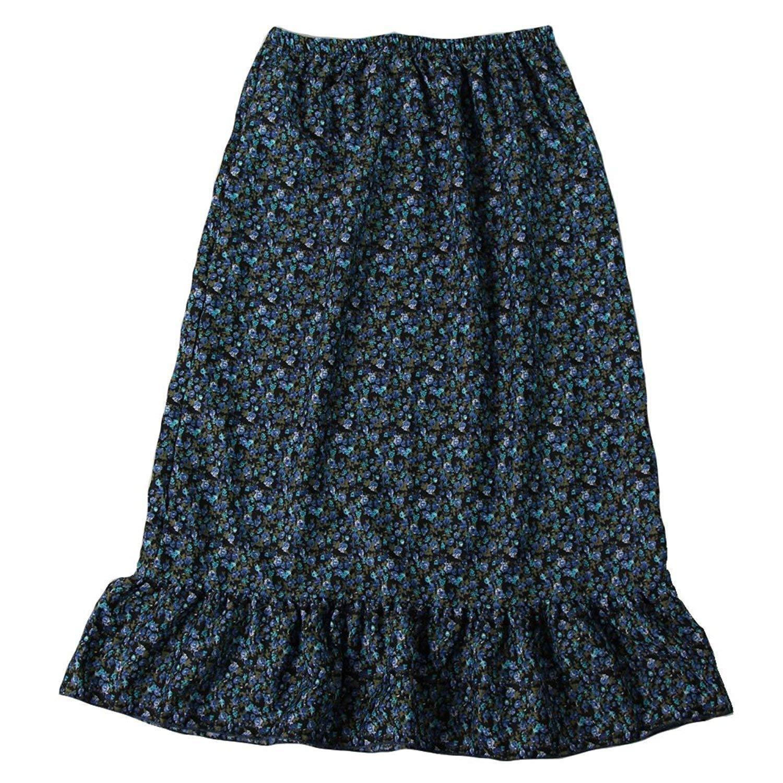 Girls Calico Pioneer Peasant Costume Skirt (Girls XX-Large 12/14, Blue Calico)