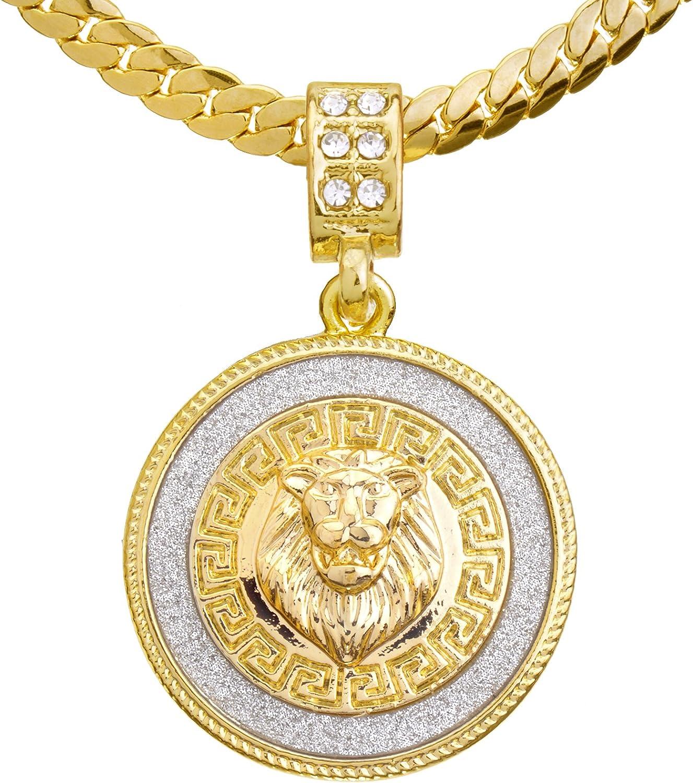 "metaltree98 Urban Fashion CZ Lion Medallion Pendant 20"" Miami Cuban Chain Necklace MCP 2048 G (20"")"