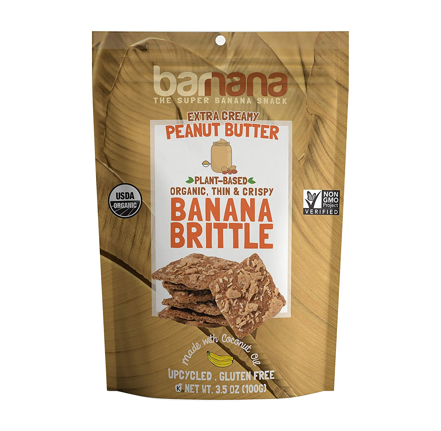 Barnana Organic Crunchy Banana Cookie Brittle - Peanut Butter, 3.5 Ounce - Healthy Vegan Dessert Snack - Made with Sustainable, Eco Friendly Upcycled Bananas