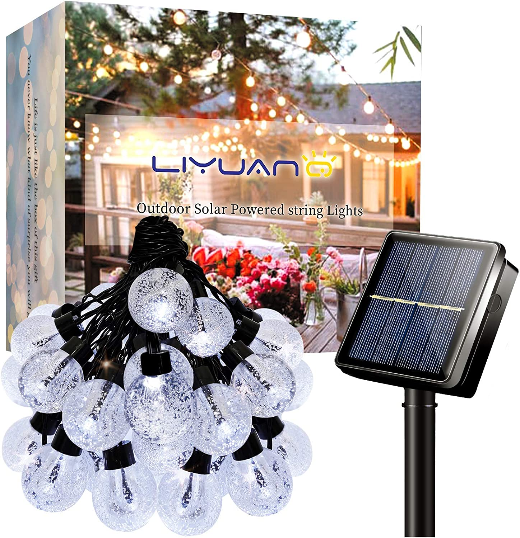LiyuanQ Solar Outdoor String Lights Crystal Globe Light String 30 LED 23.6 Feet Solar Powered Patio Lights with 8 Lighting Modes Waterproof Lights for Deck Backyard Garden Porch Wedding Party Decor