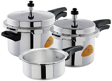 653b32b36 Image Unavailable. Image not available for. Colour  Srushti Gold Aluminium Pressure  Cooker ...