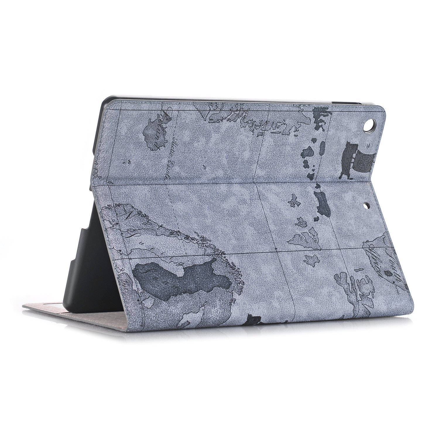 Jennyfly iPad 3 Cover,Ultra Thin Luxury PU Leather Protective Cover with Card Slot Smart Hand Free Book Style Stand Case for 9.7 inch iPad 2/3/4 - Gray
