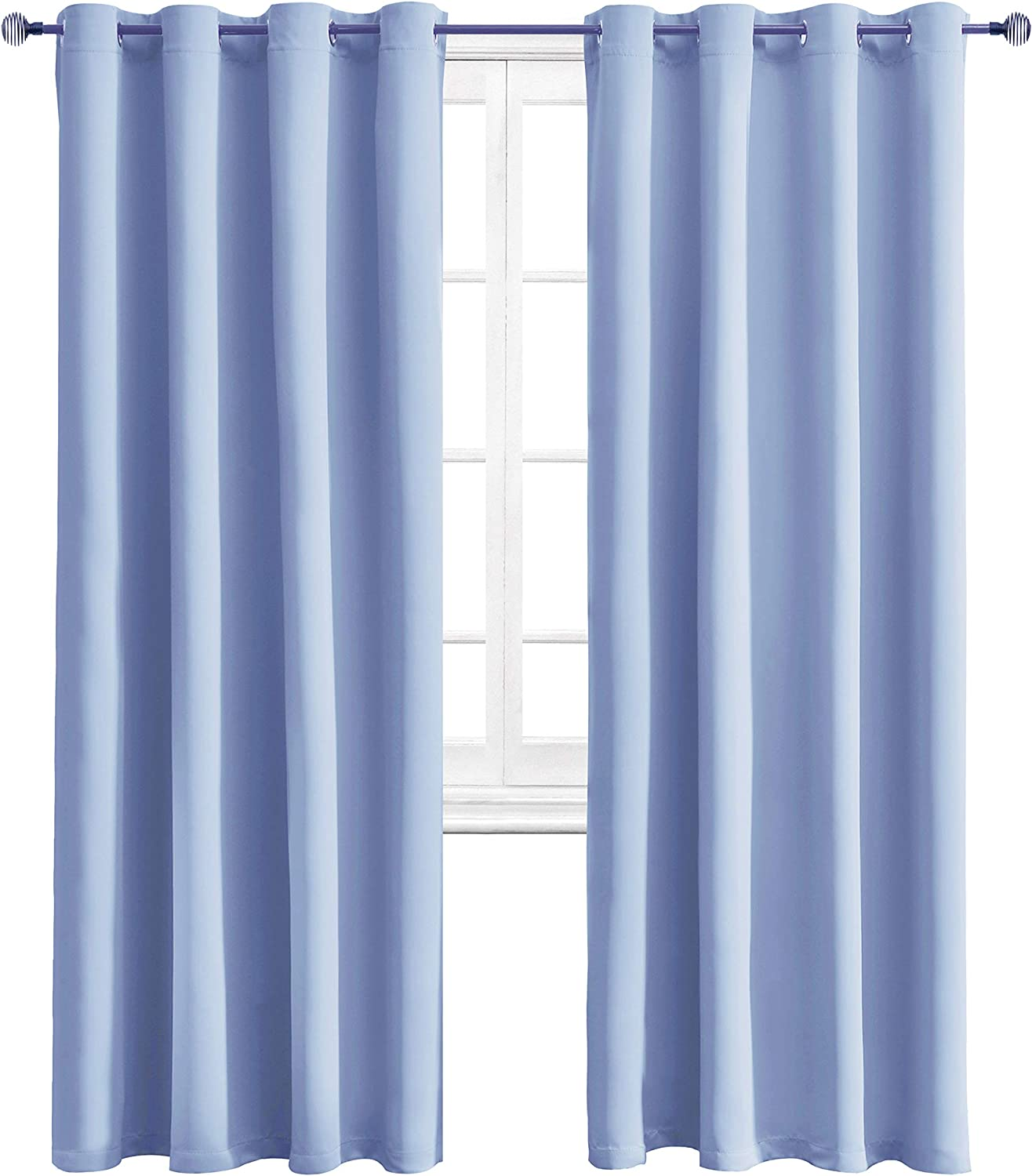 WONTEX Blackout Curtains Room Darkening Thermal Insulated with Grommet Curtains for Living Room, 52 x 84 inch, Light Blue, 2 Panels