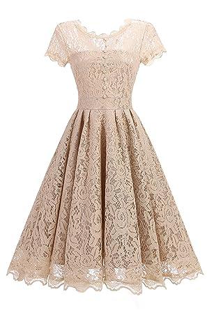 Changuan Damen Spitzenkleid Vintage 50er Jahr Kleid Party ...