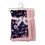 Disney Minnie Mouse Mink and Sherpa Double Sided Infant Blanket, Floral Print