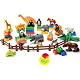 24 PC SET My First Farm and Wild Animals Figures Set (20 Pcs) with 4 Fences Included (Duplo Compatible)