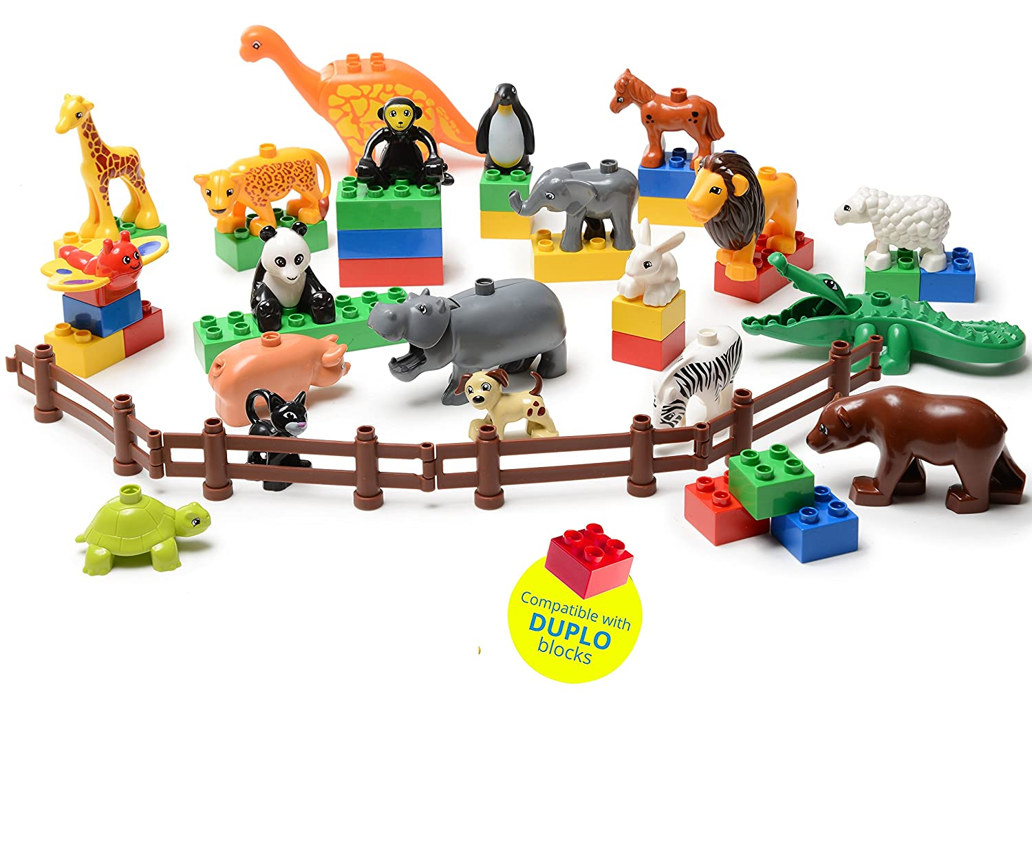 24 PC SET My First Farm and Wild Animals Figures Set (20 Pcs) with 4 Fences Included (Duplo Compatible) Review