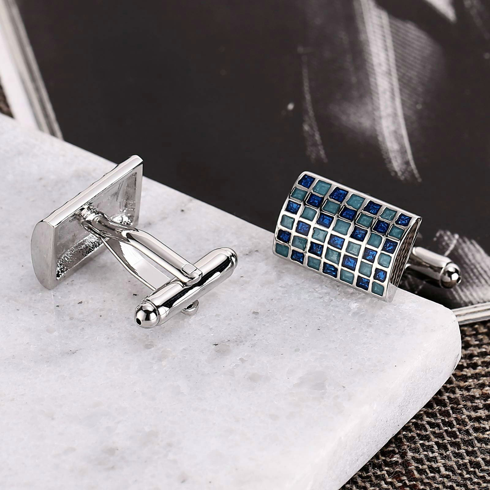 Gnzoe Stainless Steel Men's Shirt Cuff Links Business Wedding Grid 2-Color Construction Blue by Gnzoe (Image #4)