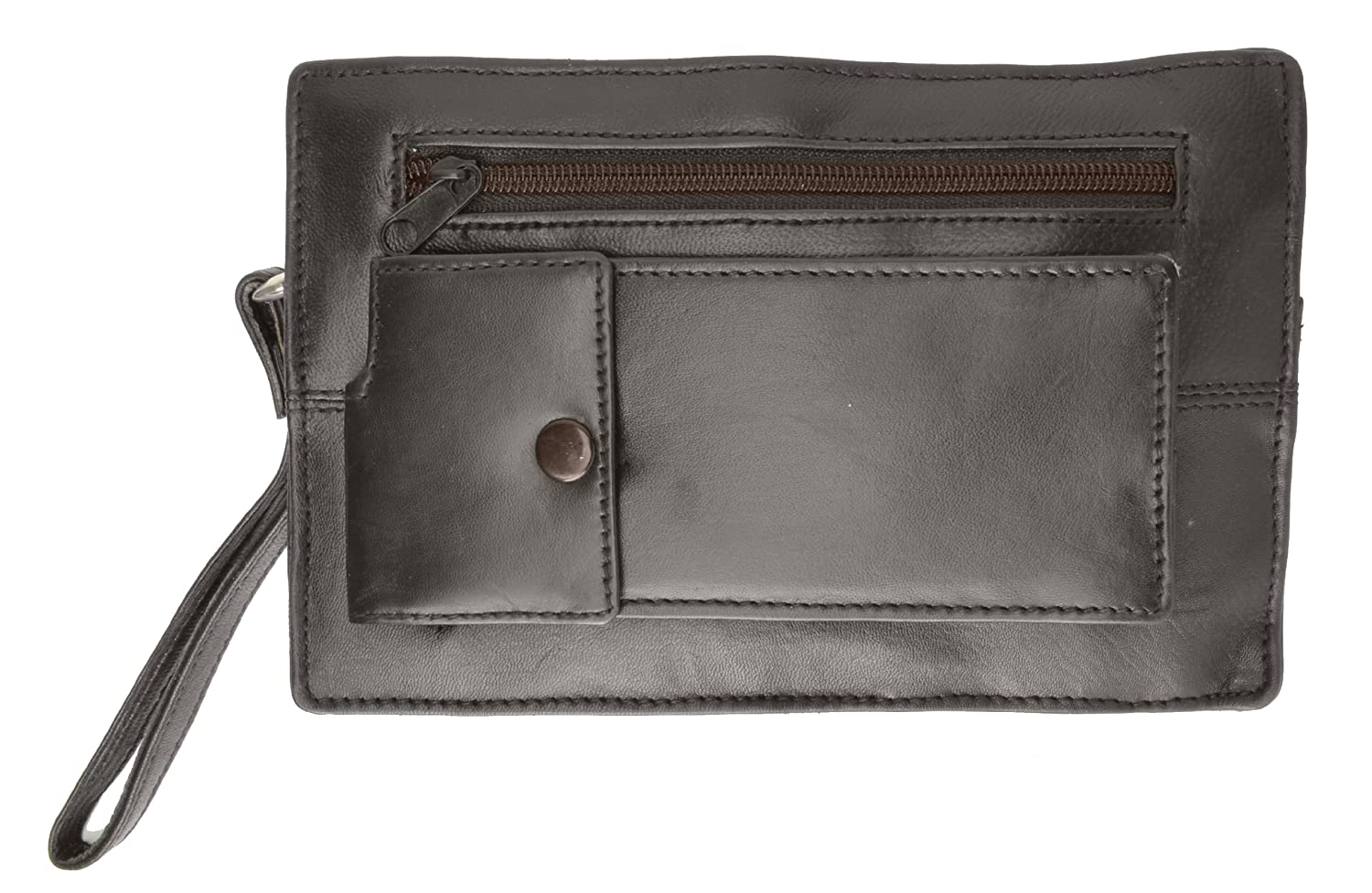 Genuine Soft Leather Mens Travel Purse with Wrist Strap by Marshal
