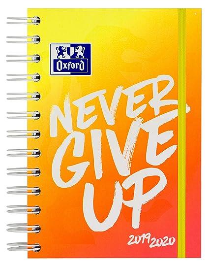 Oxford – Agenda escolar Never Give Up NEON 12 x 18 cm 1 día por página 160 hojas con espiral doble ScribZEE compatible, color naranja
