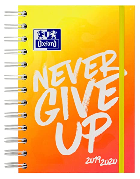 Oxford – Agenda escolar Never Give Up NEON 12 x 18 cm 1 día por página 160 hojas con espiral doble ScribZEE compatible, color naranja