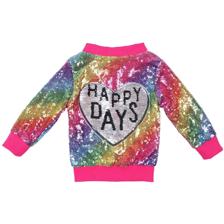 ANATA Girl Sequin Jacket Kids Casual Bomber Jacket Unicorn Zipper Coat Outwear