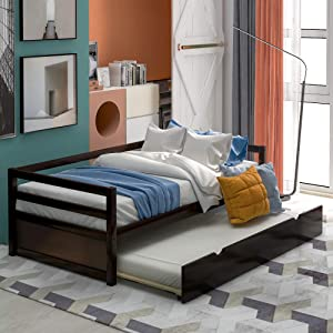 Twin Daybed with Trundle, Solid Wood Bed Frame for Kids/Teens/Adults, No Box Spring Needed