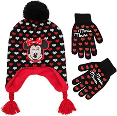 Disney Toddler Girls Minnie Mouse Polka Dot Hat and Mitten Set Red//Black Age 2-5