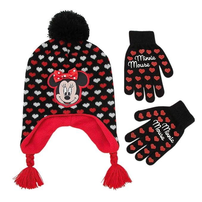Disney - Gorro y guantes de Minnie Mouse para niñas de 4 a 7 años ... 1a602267cf5