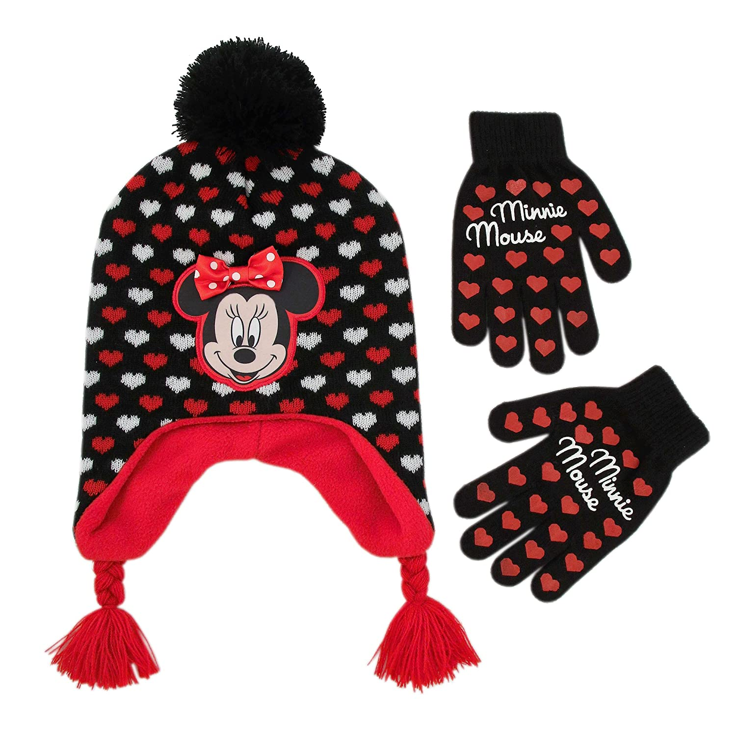 Disney Little Girls Minnie Mouse Character Hat and Gloves Cold Weather Set, Age 4-7 ABG Accessories MNF69608AZ1