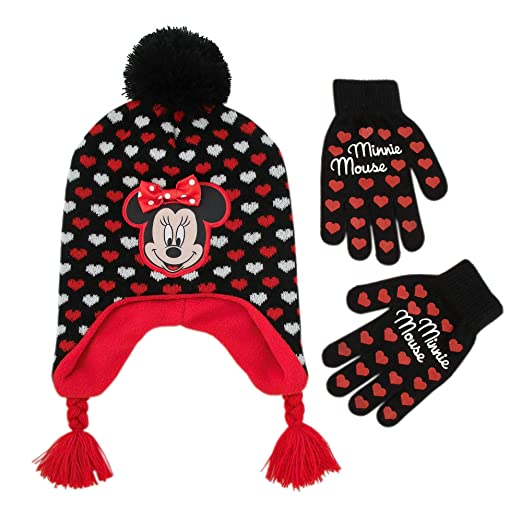 61c1ba9b0f8 Disney Little Girl s Minnie Mouse Laplander Winter Hat and Gloves Set  Accessory