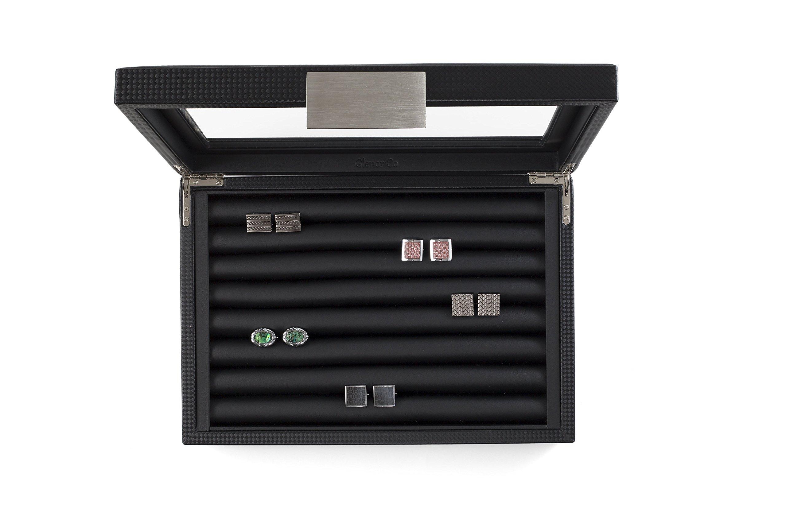 Glenor Co Cufflink Box for Men - Holds 70 Cufflinks - Luxury Display Jewelry Case -Carbon Fiber Design - Metal Buckle Holder, Large Glass Top - Black by Glenor Co (Image #3)