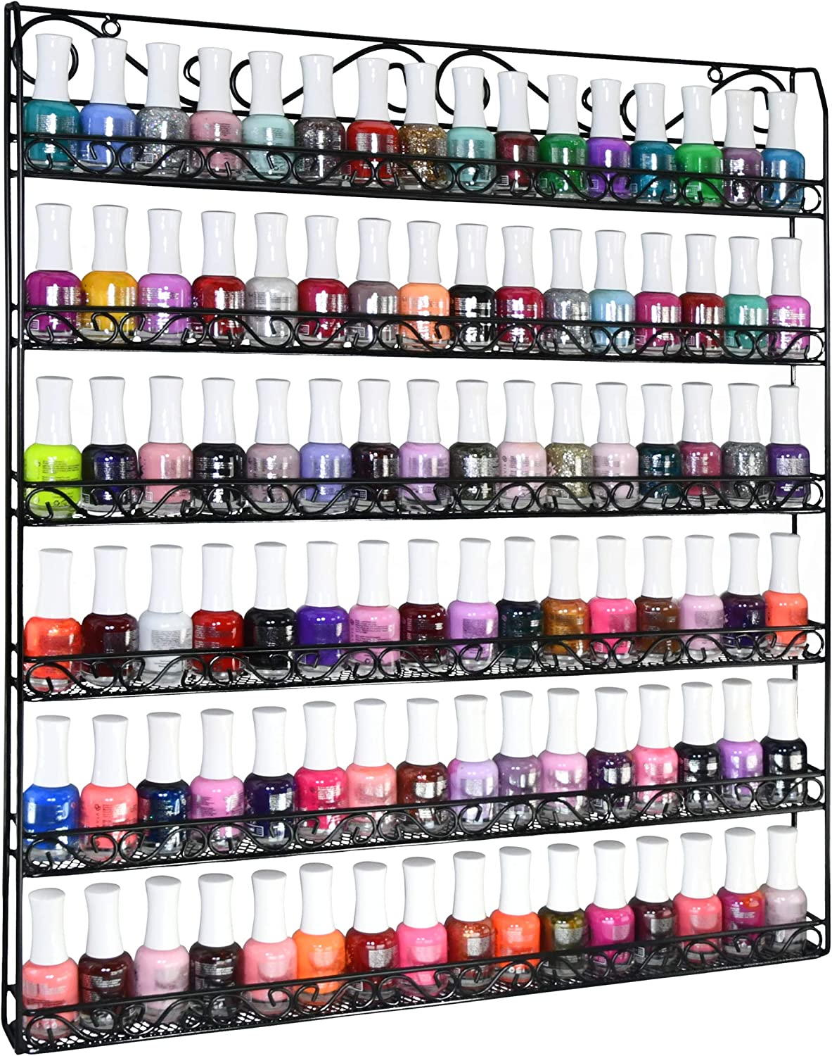 AMT 6 TIER Metal Nail Polish Racks- Up To 108 BOTTLES, Clear Nail Polish Display for The Wall, Young Living Essential Oils Organizer for Home Salon Business Spa (108 Bottles - Black)