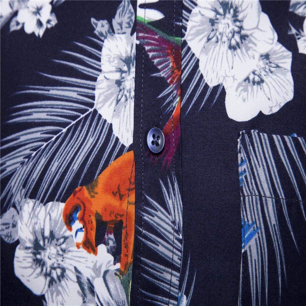 Alimao Fashion Mens Autumn Winter Casual 3D Printed Slim Long Sleeve Shirt Top Blouse