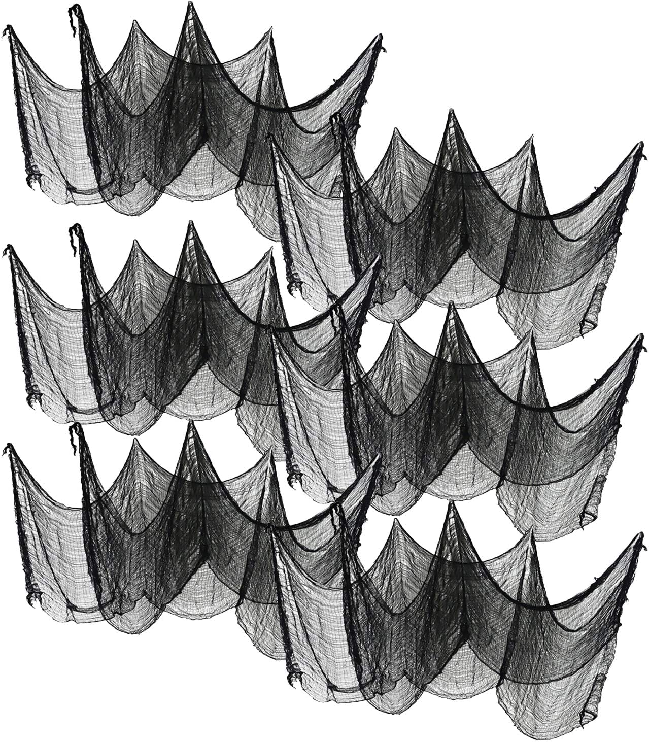 6 Pack 31.5 x 94.5 Inch Black Halloween Creepy Cloth -Spooky Scary Gauze Cheesecloth Cotton Muslin Cloths for Haunted House Halloween Party Supplies Doorway Outdoors Yard Decoration