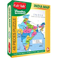 Kidz Valle India Map 48 Pieces Tiling Puzzles (Jigsaw Puzzles, Puzzles for Kids, Floor Puzzles) Puzzles for Kids Age 4 Years and Above