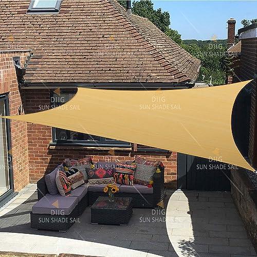 SANDEGOO Sun Shade Sail Rectangle 6 x 10 ,95 UV Block 185 g m Heavy Duty Shade Cloth,Wind -Proof Sun-Proof Sunshade Canopy Over 3 Years Used Outdoor,Sand Color 6 x 10 Rectangle