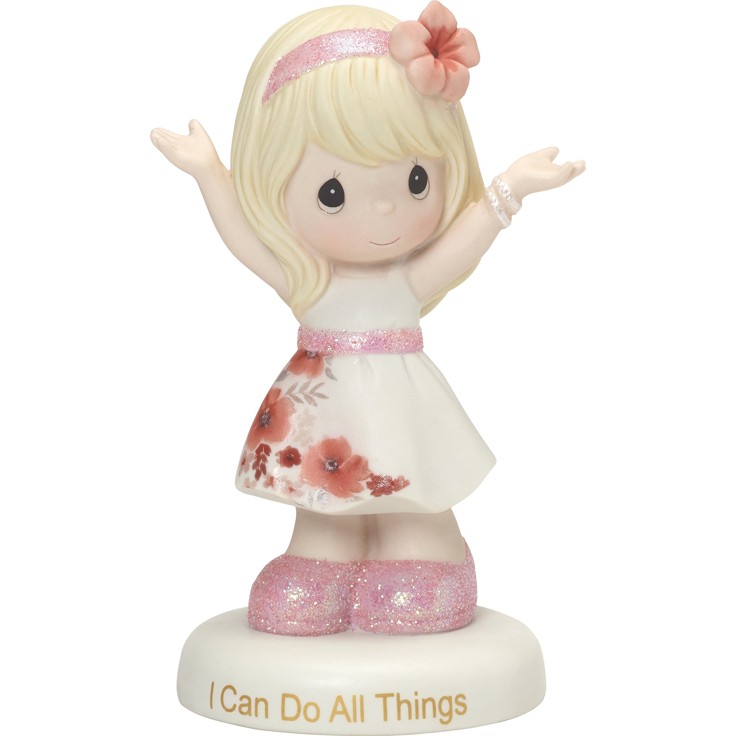 Precious Moments Girl in Floral Skirt I can Do All Things Porcelain 185081 Figurine, One Size, Multi
