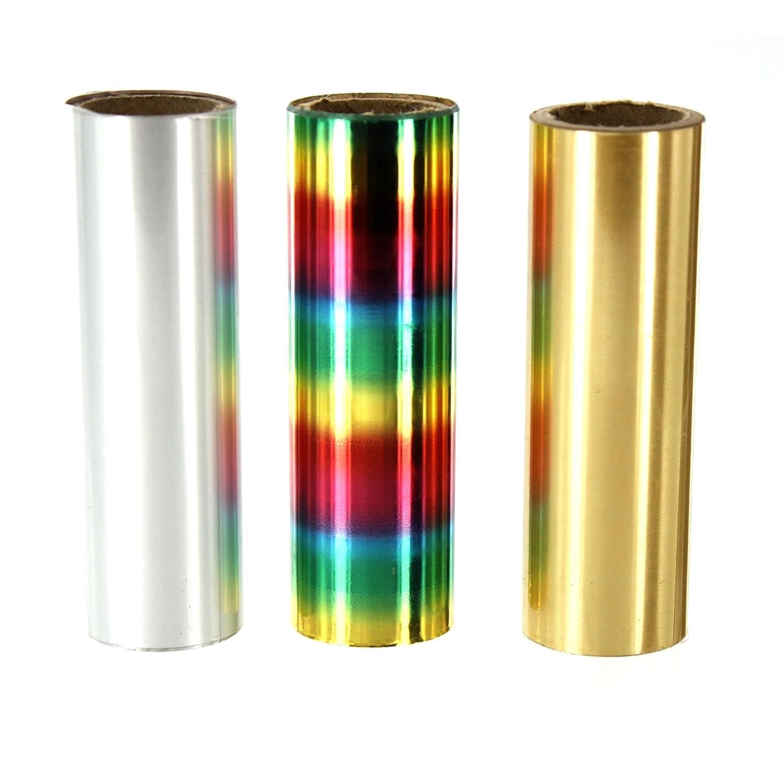 FOILART - Confezione da 3 rotoli di carta d'alluminio brillante per decorazioni, 1 m x 74 mm SHESTO FA133