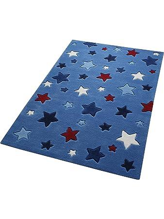 Kinderteppich blau stern  Smart Kids Teppiche: Kinderzimmer Kinderteppich Simple Stars Blau ...