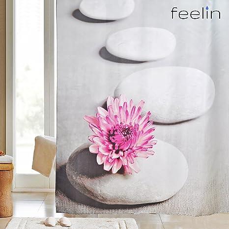 Feelin – Cortina de ducha (180 x 200 cm, con efecto lotus antibacteriano y