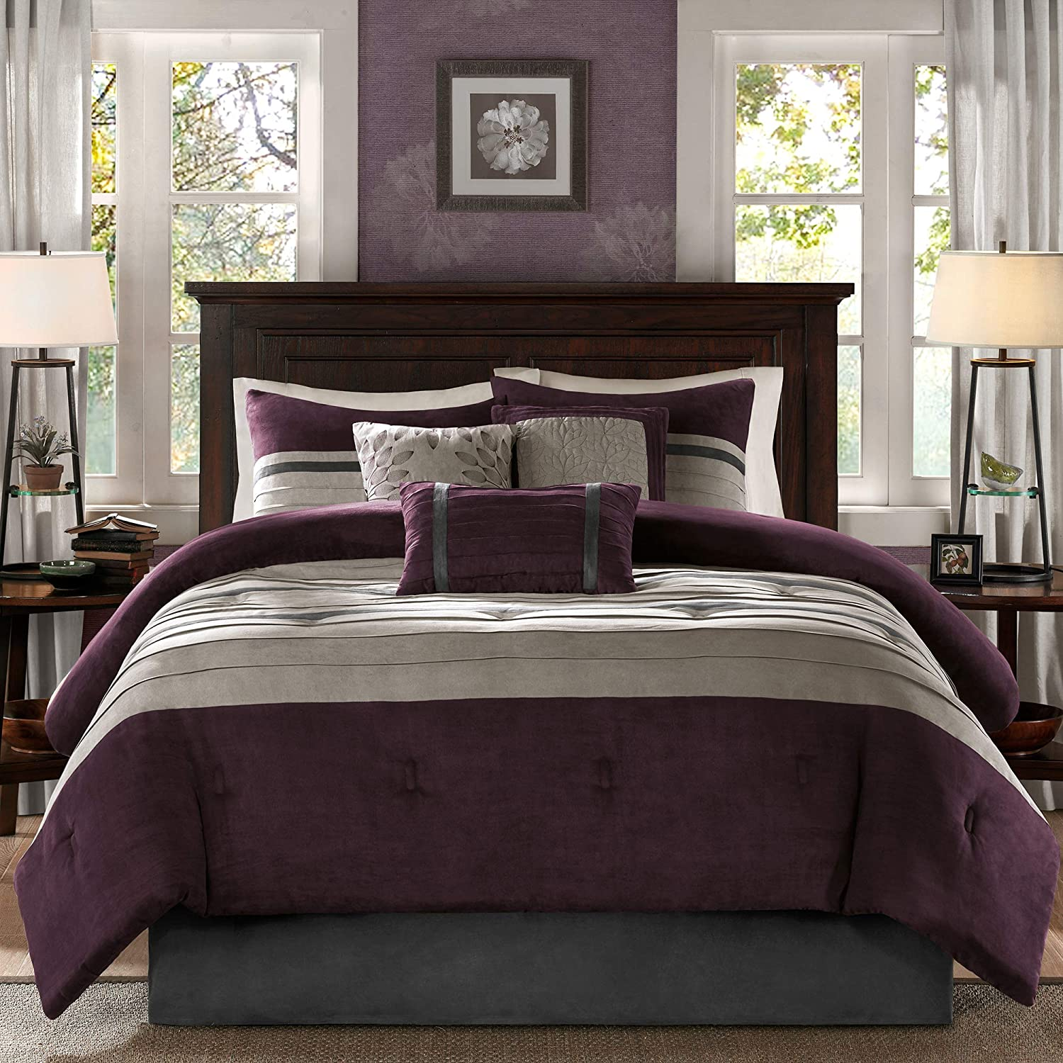 Madison Park - Palmer 7 Piece Comforter Set - Plum - Full - Pieced Microsuede - Includes 1 Comforter, 3 Decorative Pillows, 1 Bed Skirt, 2 Shams