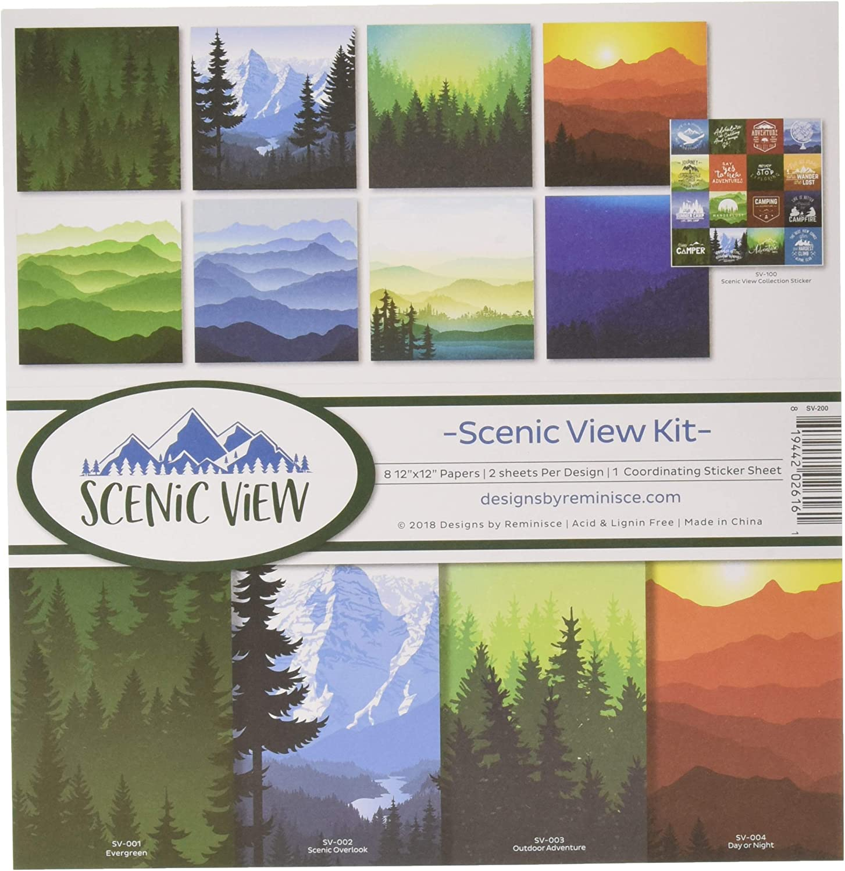 Reminisce Scenic View Scrapbnook Scrapbook Collection Kit, Multi Color Palette