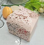 """50pcs Laser Cut Flower Candy Boxes,2.6"""" x 2.6"""" x 1.6"""" Butterfly Gift Boxes for Anniverary Party Wedding Favor(Pink)"""